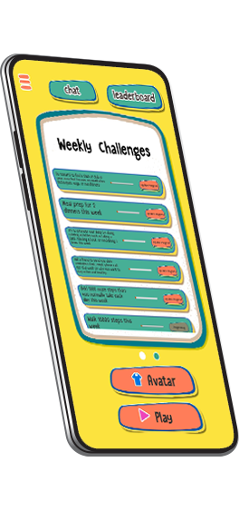 Weekly Challenges screen in the WellQuest game