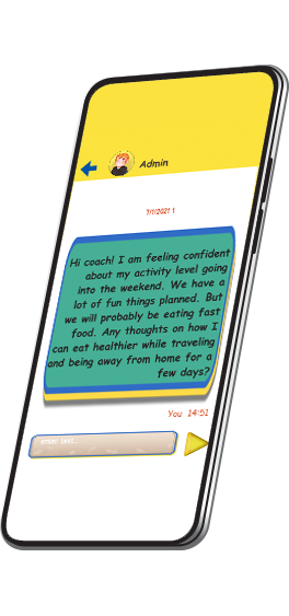 WellQuest game screen with note from a participant to their Life Style Coach